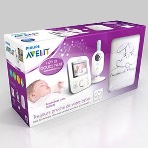 Coffret babyphone video scd620/01 + plaid doudou et compagnie offert