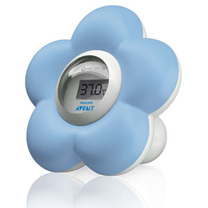 Thermomètre bébé de bain et chambre bleu