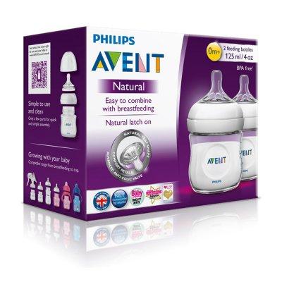 Lot de 2 biberons natural 125 ml Avent-philips