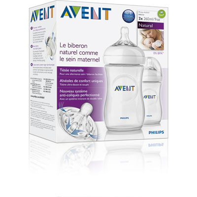 Lot de 2 biberons natural 260 ml Avent-philips