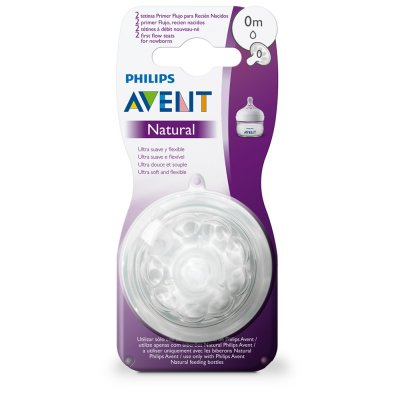 Lot de 2 tétines natural nouveau-né premier débit Avent-philips