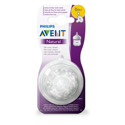 Lot de 2 tétines natural 1 débit nouveau-né Avent-philips