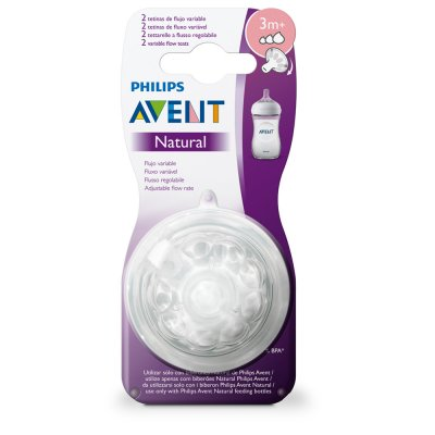 2 tétines silicone natural 3mois+ débit variable Avent-philips