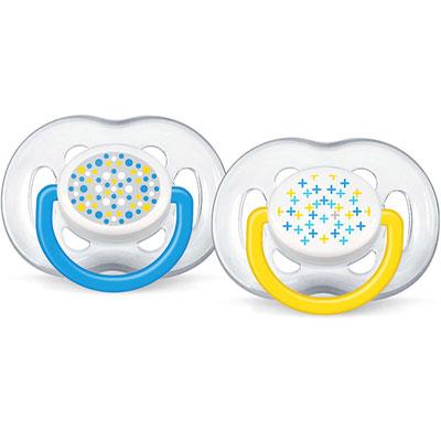 Lot de 2 sucettes silicone aérées tendance bleue 6-18 mois Avent-philips