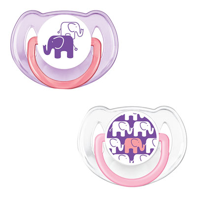 Lot de 2 sucettes silicone elephant rose 6 - 18 mois Avent-philips
