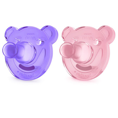 Lot de 2 sucettes soothie silicone fille Avent-philips