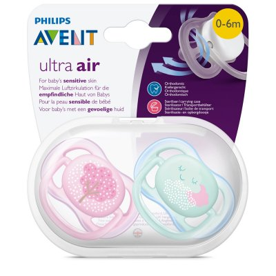 Lot de 2 sucettes ultra air rose/vert 0-6 mois Avent-philips