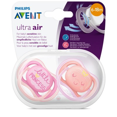 Lot de 2 sucettes ultra air rose/orange 6-18 mois Avent-philips