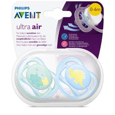 Lot de 2 sucettes ultra air bleu décor dino 0-6 mois Avent-philips
