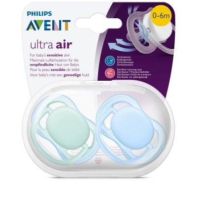 Lot de 2 sucettes ultra air bleu/vert 0-6 mois Avent-philips