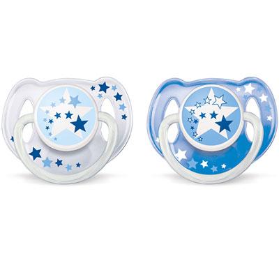 Lot de 2 sucettes nuit silicone bleu 6-18 mois Avent-philips