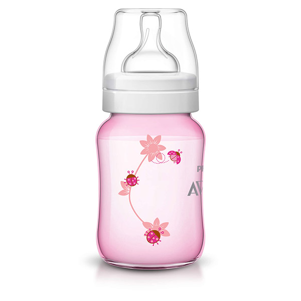 Biberon classic + rose coccinelle 260 ml Avent-philips