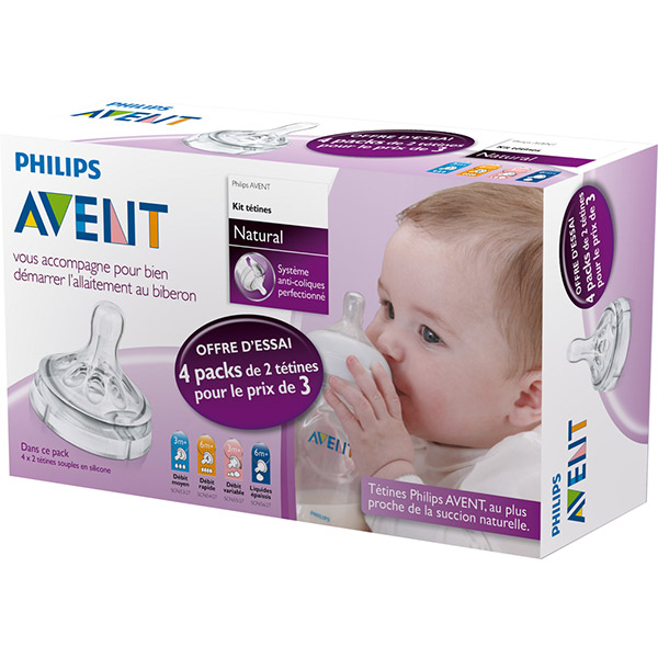 Kit natural 3 tétines + 1 tétine offerte Avent-philips