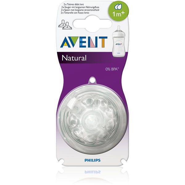 Lot de 2 tétines natural 2 trous débit lent Avent-philips