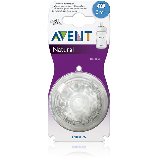 Lot de 2 tétines natural 3 trous débit moyen Avent-philips