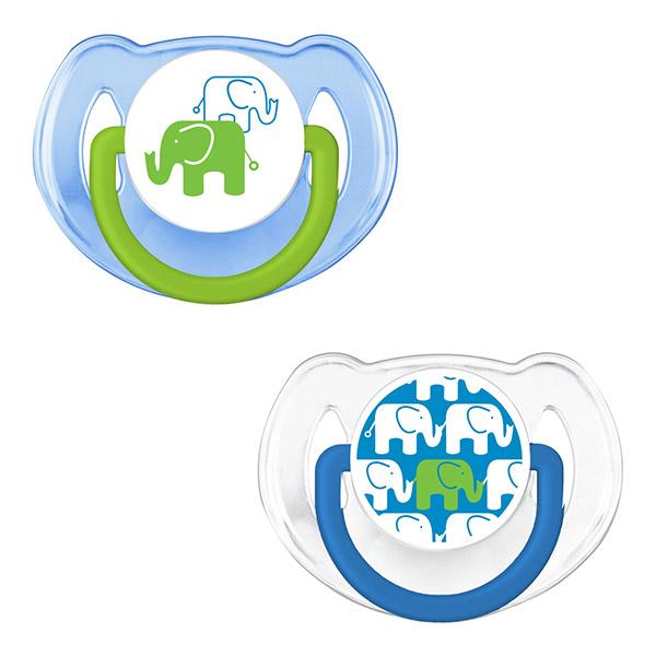 Lot de 2 sucettes silicone elephant bleue 6 - 18 mois Avent-philips