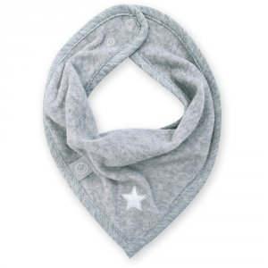 Bavoir bandana stary mixed grey