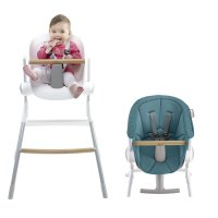 Chaise haute bébé up and down grey white + assise bleue offerte
