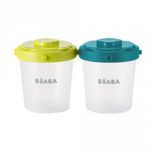 Beaba Lot de 6 portions clip 2 eme âge 200 ml blue / neon
