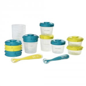 Pack 1er repas - set portions clip + cuillère 1er âge silicone - neon