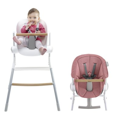 Chaise haute bébé up and down grey white + assise rose offerte Beaba