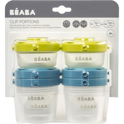 Lot de 6 portions clip 1 er âge 60 ml et 120 ml blue / neon Beaba
