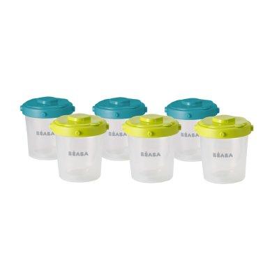 Lot de 6 portions clip 2 eme âge 200 ml blue / neon Beaba