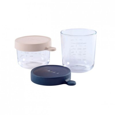 Coffret de 2 portions en verre 150 ml pink et 250 ml dark blue Beaba