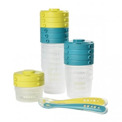 Pack 1er repas - set portions clip + cuillère 1er âge silicone - neon Beaba