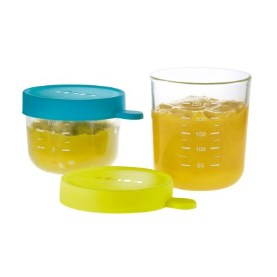 Coffret de 2 portions en verre 150 ml blue + 250 ml neon Beaba