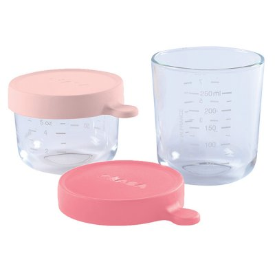 Coffret 2 portions verre 150ml pink / 250ml dark pink Beaba