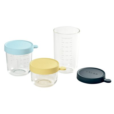 Coffret 3 portions verre (yellow, light blue, dark blue) Beaba