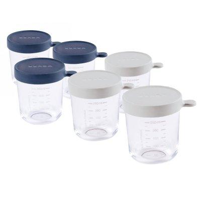 Pack 6 portions verre (250 ml dark blue / 250 ml light mist) Beaba