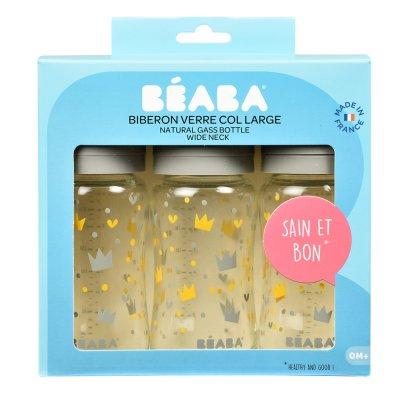 Lot de 3 biberons verre col large 240 ml - yellow/grey crown Beaba