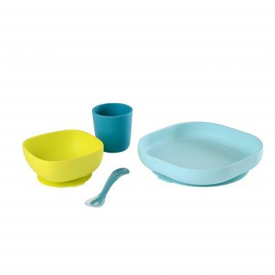 Coffret repas vaisselle silicone 4 pièces blue Beaba