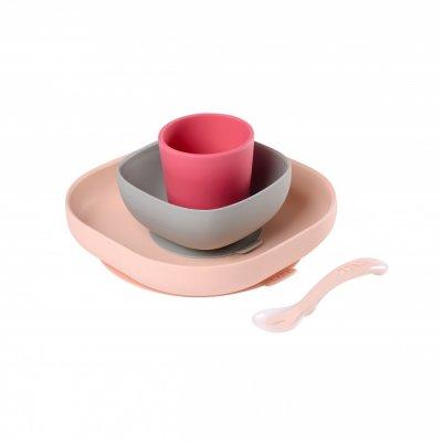 Coffret repas vaisselle silicone 4 pièces pink Beaba