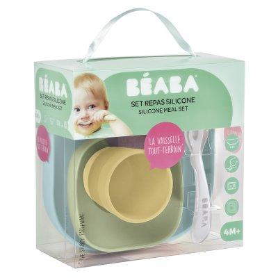 Coffret repas vaisselle silicone 4 pièces yellow Beaba