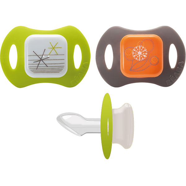 Lot de 2 sucettes silicone orthondontiques 2eme age gipsy vert Beaba