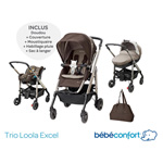 Pack poussette trio loola excel earth brown 2015 pas cher