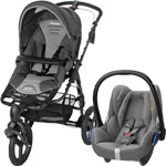 Pack poussette duo high trek cabriofix concrete grey 2015 pas cher