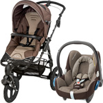 Pack poussette duo high trek cabriofix earth brown 2015 pas cher