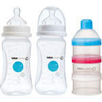 Lot de 2 biberons sans bpa maternity + doseur de lait blanc 270ml pas cher