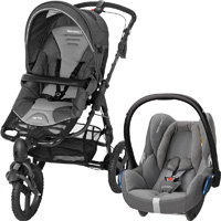 Poussette combiné duo high trek cabriofix concrete grey 2015