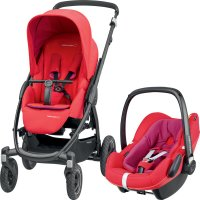 Poussette combiné duo stella pebble plus red orchid