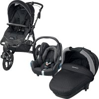 Pack poussette trio high trek cabriofix compacte black crystal