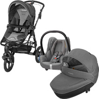 Poussette combiné trio high trek cabriofix windoo concrete grey 2015