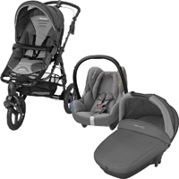 Pack poussette trio high trek cabriofix compacte concrete grey 2016