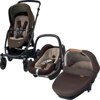 Poussette combiné trio stella pebble plus amber earth brown