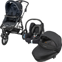 Pack poussette trio high trek cabriofix windoo black raven 2016