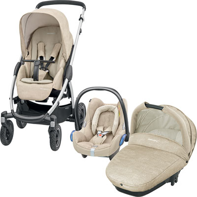 Pack poussette trio stella cabriofix compacte nomad sand Bebe confort